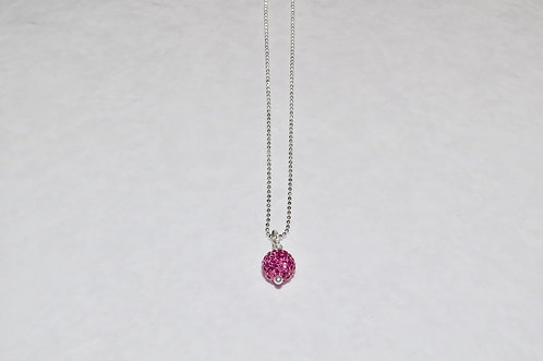 Pink Pave' Ball Necklace NS070-SS