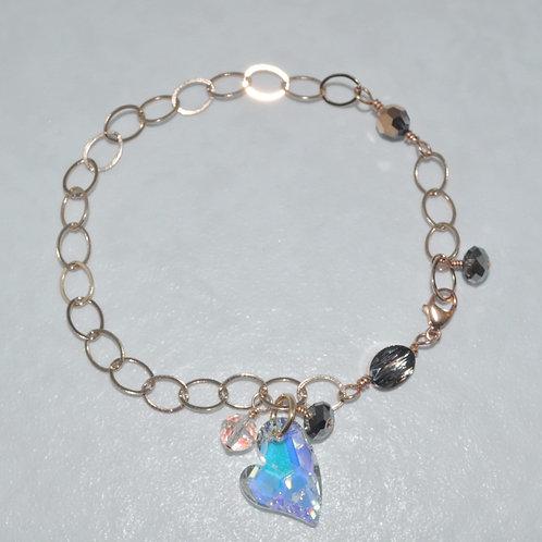 Devoted 2 U Heart Chain Bracelet  B013-RG