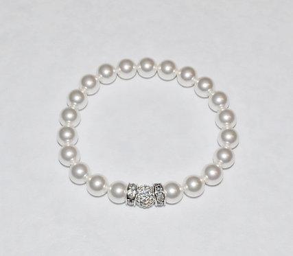 Pearl & Pave' Ball Stretch Bracelet B135-SS