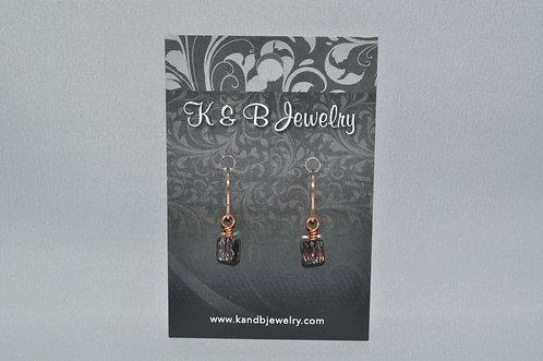 Crystal Rose Gold Square Earrings  E003-RG