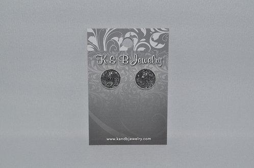 Silver Black Flower Studs  EST-066-SS