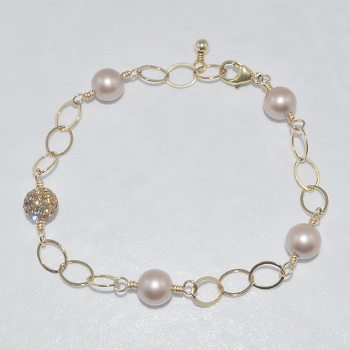 Almond Pearl and Gold Pave' Ball Bracelet  B010-GF