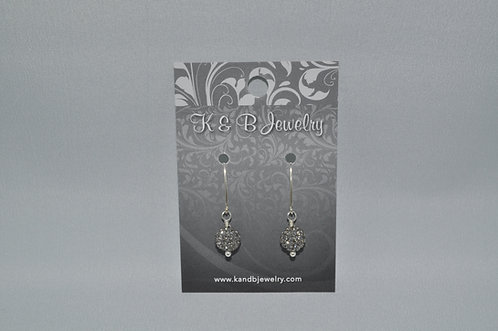 Black Diamond Pave' Ball Earrings  EM035-SS