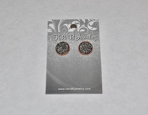 Silver Black Druzy Studs E045-RG