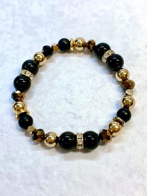 Bk Obsidian, Bk Onyx & Gold Hematite Stretch Bracelet B129-GF