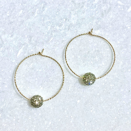 GF Sparkle Hoops/Bk Diamond Pave' Ball EST052-GF