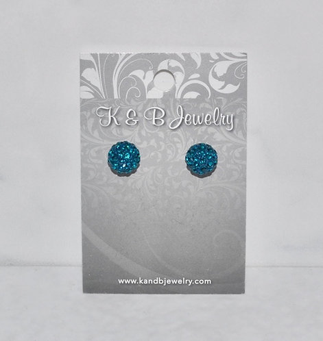 Teal Crystal Pave' Ball Studs
