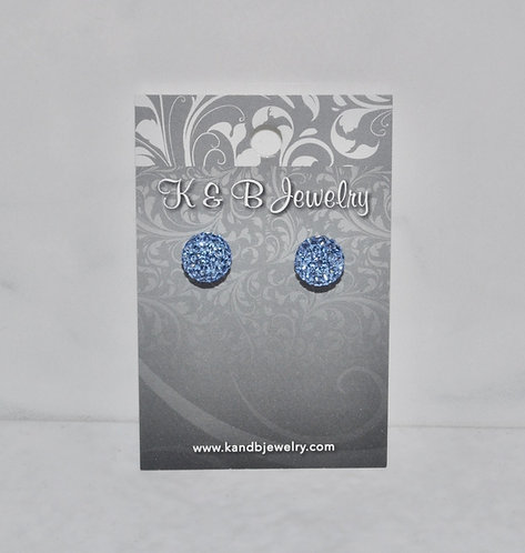 Light Blue Crystal Pave' Ball Studs