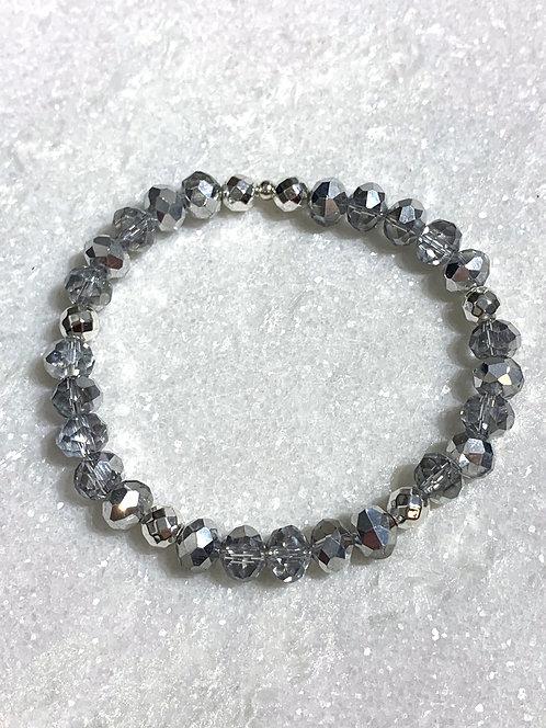 Lt Silver Shimmer Stretch Bracelet B393-SS