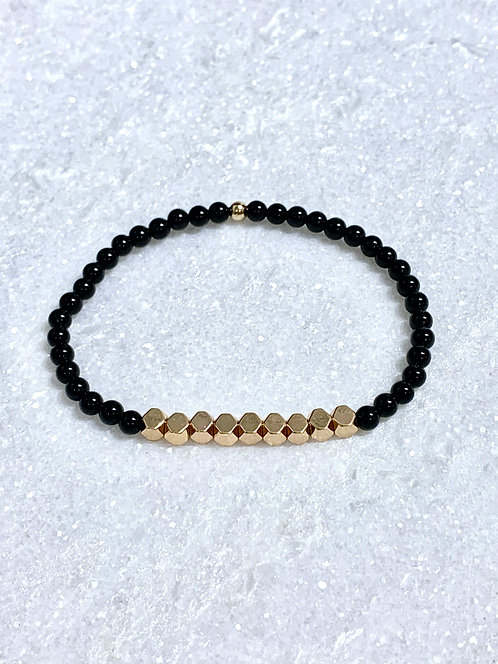 Black Agate + Gold Hematite Stretch Bracelet B137-GF