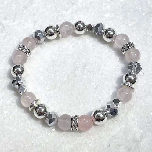 Rose Quartz & Silver Hematite Stretch Bracelet B403-SS
