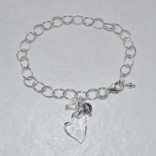 Ashlyn Chain Heart Bracelet   B026-SS