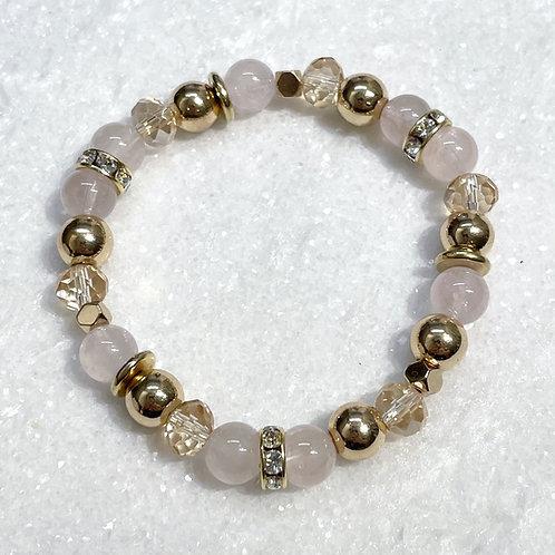 Rose Quartz & Gold Hematite Stretch Bracelet B160-GF