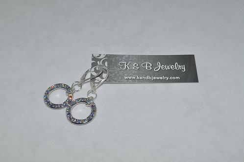 Aurora Borealis Circle Earrings  ELB030-SS