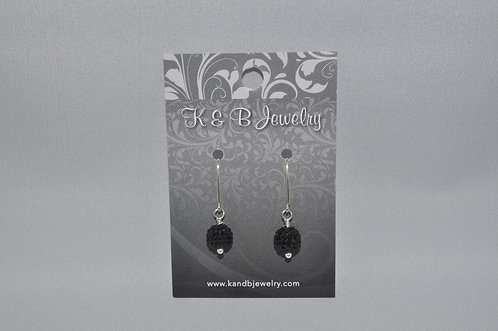 Black Crystal Pave' Ball Earrings  EM018-SS