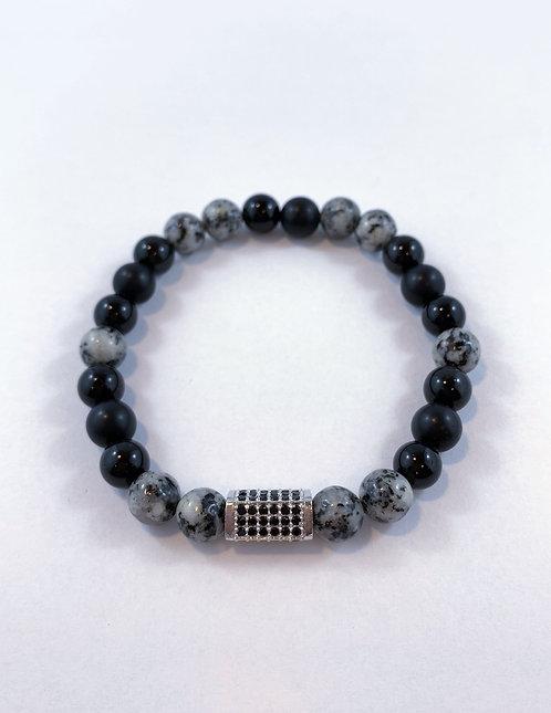 Men's Sesame Jasper, Bk Obsidian & Bk Agate Stretch Bracelet B347-SS