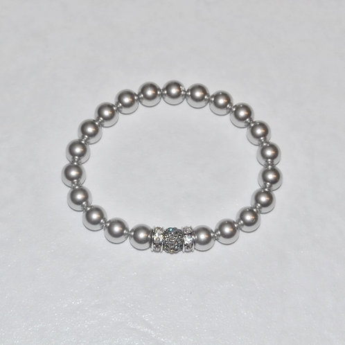 Pearl & Pave' Ball Stretch Bracelet B138-SS