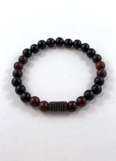 Men's Brown Rosewood & Black Sandlewood Stretch Bracelet B343-SS