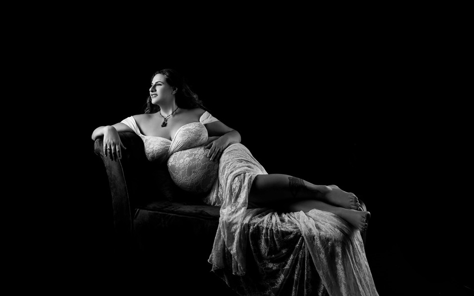 Maternity boudoir photography session