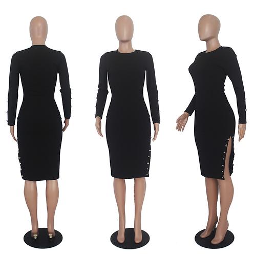 Long Sleeve Elegant Split Dress