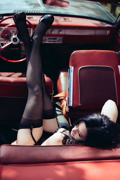 Boudoir photography in a classic car