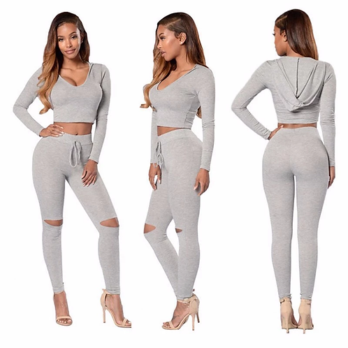 Long Sleeve Two Piece Cotton Sweatshirt Hoodie/Pants