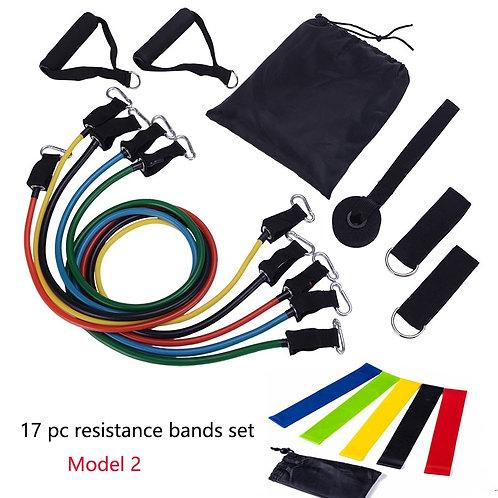 11pc Resistance Bands Set 17 Stks/Set Home Workout Elastic Sports Bands