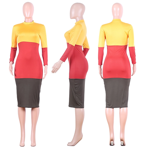 Long Sleeve Patchwork Bodycon Maxi  Dress
