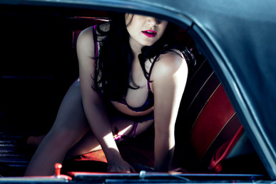 On location boudoir photo session with classic car