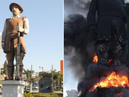 Polícia investiga incêndio em estátua de Borba Gato na capital de SP