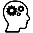 silhouette of a human head with gears in it