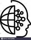 silhouette of head combined with half of world icon and lines suggesting making connections