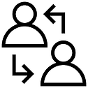arrows pointing to and from two people icons representing knowledge being transfered