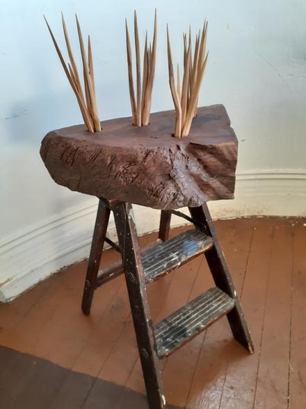 Zedekiah Schild, Father Chair, Wood and found object, 2020