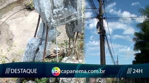 Poste de energia quebrado está prestes a desabar no bairro D. João VI