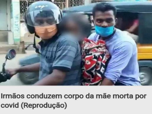 Filhos colocam cadáver da mãe entre eles em moto para levá-lo ao crematório
