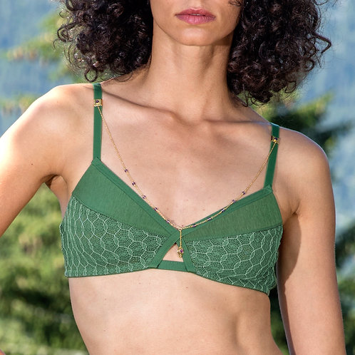 Bra Lotus Green & Jewelry Necklace