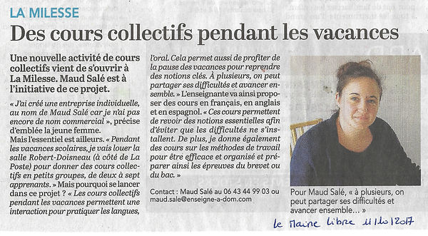 Article de journal Maine Libre 11 octobr