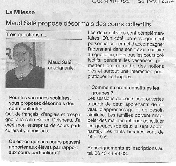 Article Ouest France cours collectifs 30