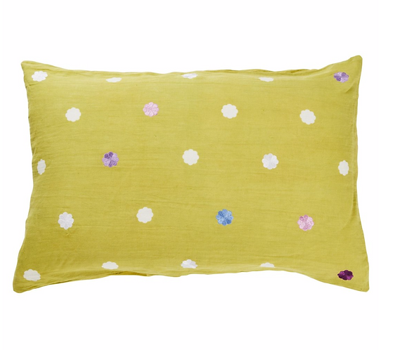 Sage & Clare Eilan Linen Embroidered Pillowcase Pear