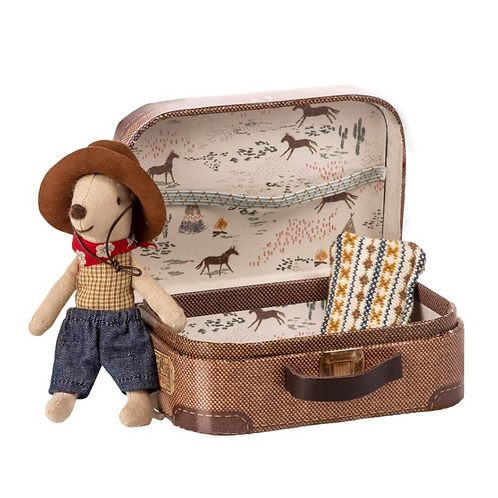 Maileg cowboy Mouse with a suitcase