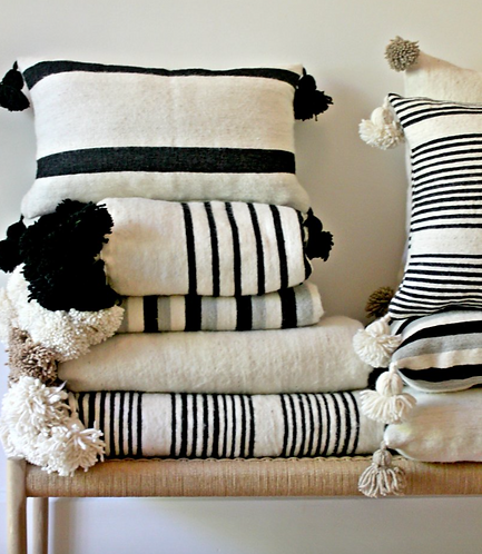 Moroccan wool striped cushion