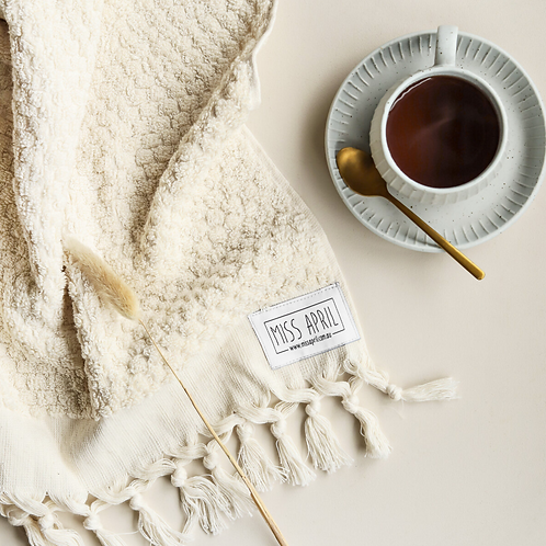 Miss April Turkish Hand Towel- Pom Pom Natural