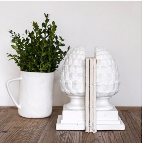Acorn bookends - white