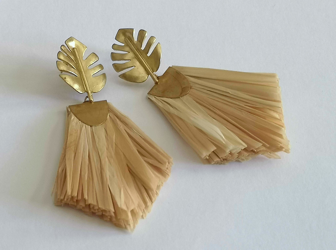 Natural Palm Raffia Rhapsody Earrings