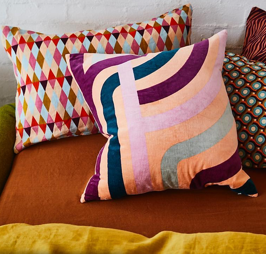 Sage & Clare Jenny peach velvet cushion