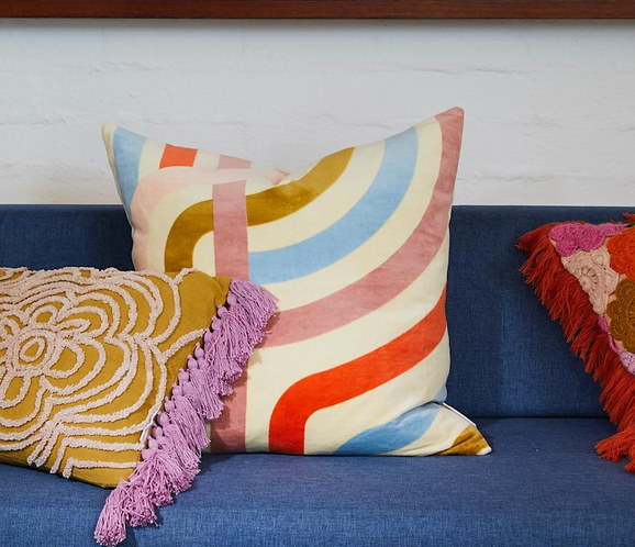 Sage & Clare Jenny pistachio velvet cushion