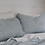 Thumbnail: French Stripe European linen fitted sheet super king - Blue