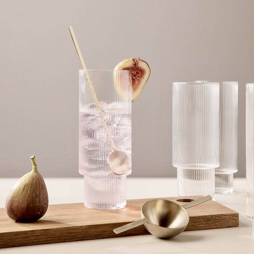 ferm LIVING Ripple Tall Glasses Set/4 - Clear