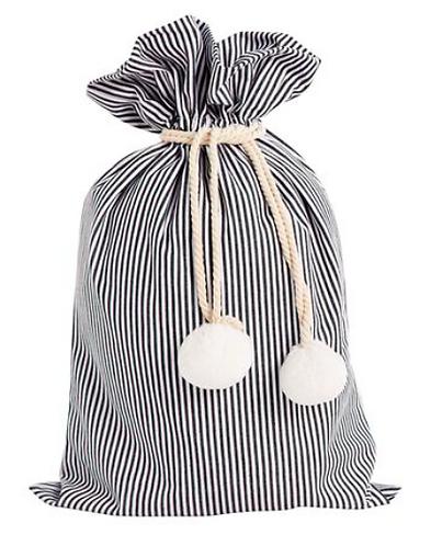 Santa Sack Pin Stripe Black and White